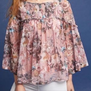 Anthropologie Lace and Floral Boho Blouse